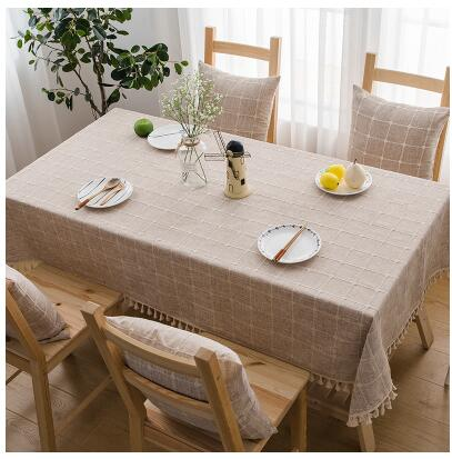 Japanese Coffee Plaid Lattice Cotton Linen Tablecloth Japan Dining Room Tableware Home Decor Accessories Style Design L