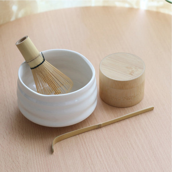 Professional Japanese Tea Ceremony Set White Matcha Bowl Bamboo Whisk Scoop Bamboo Caddy Gift Set Green Tea Powder teaset Japan Teaware Sets