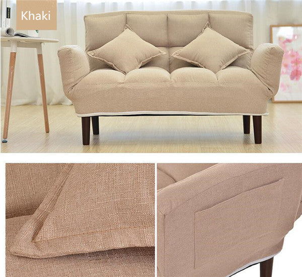 Modern Foldable Khaki Japanese Couch Sofa Bed With Backrest and Armrest Japan Living Room Furniture Home Decor Accessories Design