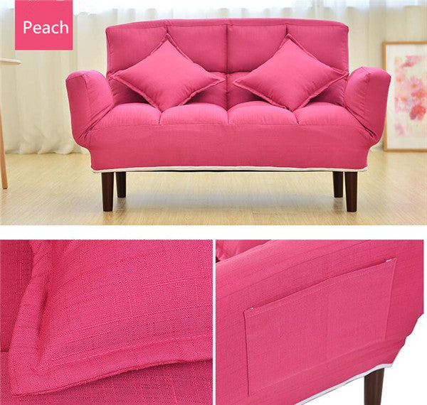 Modern Foldable Pink Peach Japanese Couch Sofa Bed With Backrest and Armrest Japan Living Room Furniture Home Decor Accessories Design