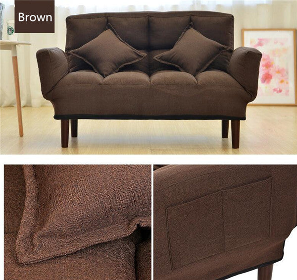 Modern Foldable Brown Japanese Couch Sofa Bed With Backrest and Armrest Japan Living Room Furniture Home Decor Accessories Design M