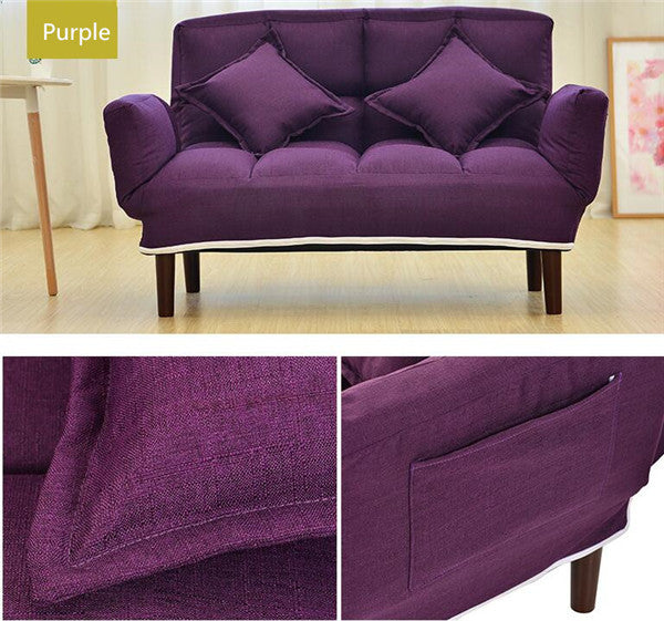 Modern Foldable Purple Japanese Couch Sofa Bed With Backrest and Armrest Japan Living Room Furniture Home Decor Accessories Design
