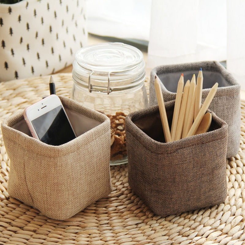 Mini Japanese Linen Pen Holder Desktop Boxes Cloth Art Brush Pot Photo Props Simple and Lovely Japan Key Box Little Pen Holders Trendy