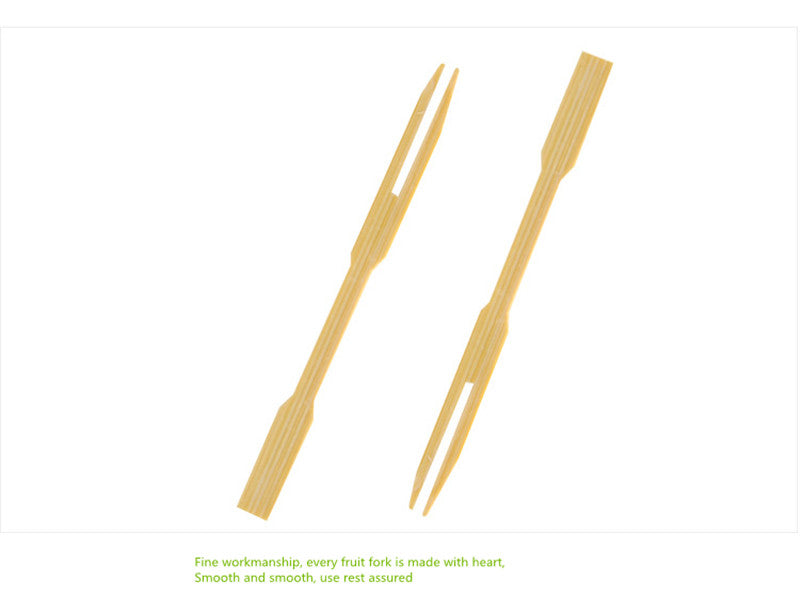 100 Piece Bamboo Disposable Wooden Fruit Forks Bento Accessories Style L