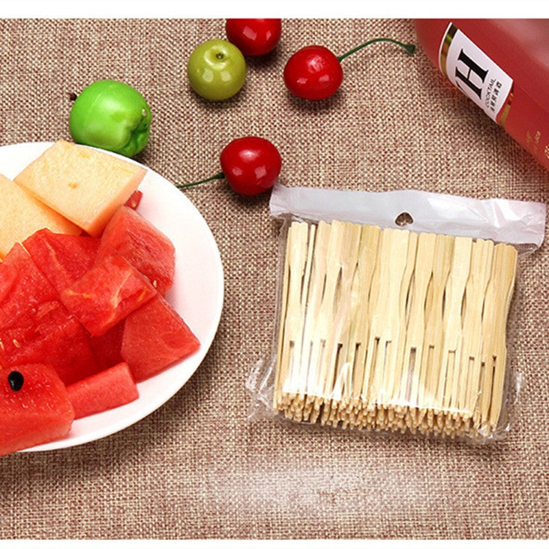 100 Piece Bamboo Disposable Wooden Fruit Forks Bento Accessories Style