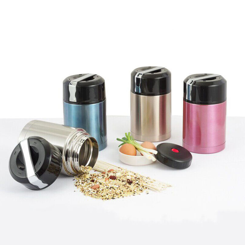 Stainless Steel Vacuum Thermos Silver Blue Gold Red Bento Lunch Boxes Bento Box