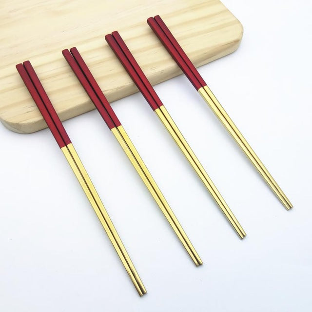 Candy Color Gold Red Chinese Stainless Steel Chopsticks China Chopstick Home Dining Tableware Accessories Design Style G