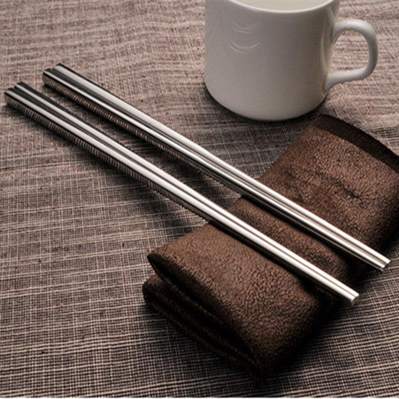 304 Stainless Steel Chinese Chopsticks 4 Pair Set 23cm China Silver Chopstick Style C
