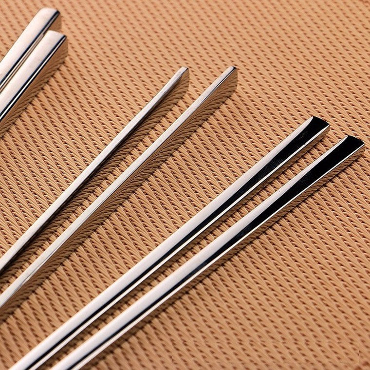 304 Stainless Steel Chinese Chopsticks 4 Pair Set 23cm China Silver Chopstick Style E