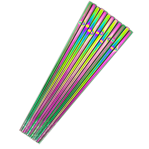 Rainbow Polished Chinese 304 Stainless Steel Chopsticks China Chopstick Tableware Home Decor Accessories