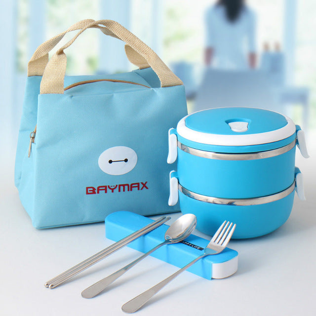 Baymax Stainless Steel 2 Layer Blue Bento Lunch Box Sets Bento Box Design
