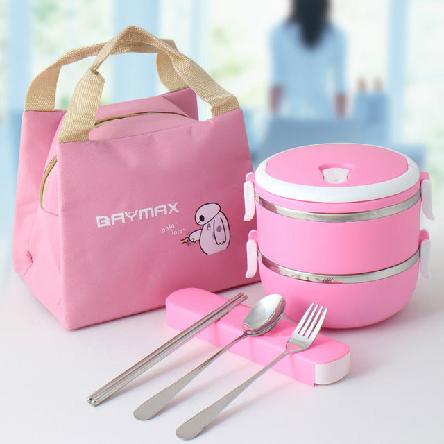 Baymax Stainless Steel 2 Layer Pink Bento Lunch Box Sets Bento Box Design C