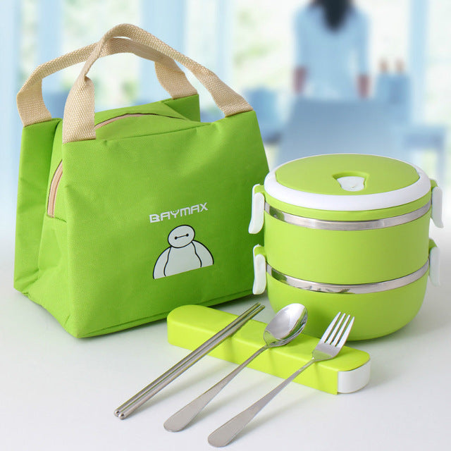 Baymax Stainless Steel 2 Layer Green Bento Lunch Box Sets Bento Box Design
