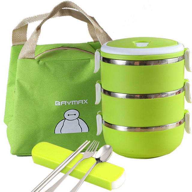Baymax Stainless Steel 3 Layer Green Bento Lunch Box Sets Bento Box Design J
