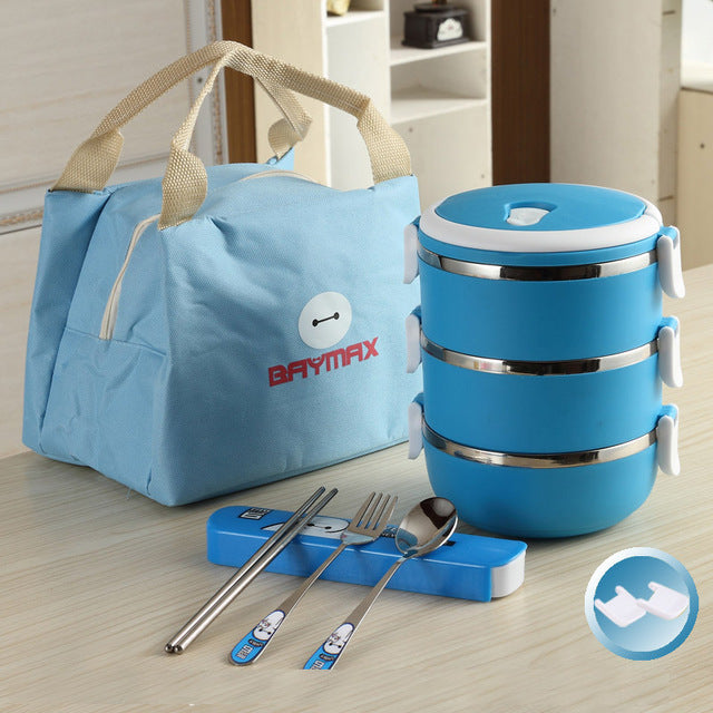 Baymax Stainless Steel 3 Layer Blue Bento Lunch Box Sets Bento Box Design