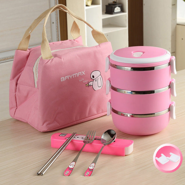 Baymax Stainless Steel 3 Layer Pink Bento Lunch Box Sets Bento Box Design L