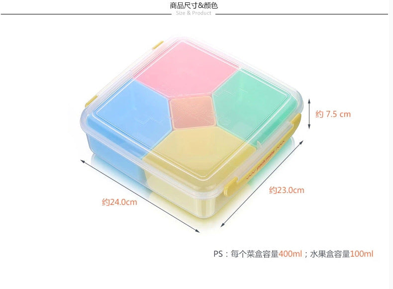 Japan 5 Grid Plastic Kids Bento Lunch Boxes Bento Box Japanese Size Chart