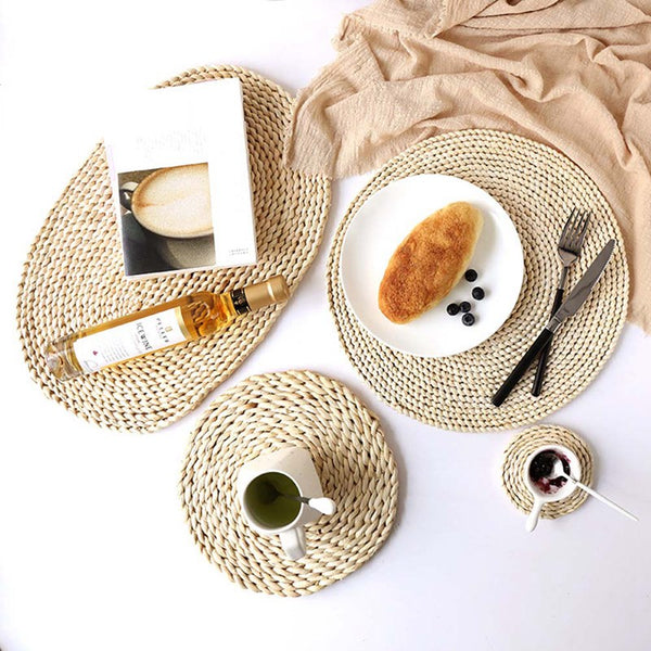 Rattan Placemats Straw Dining Table Mats Corn Peel Placemat