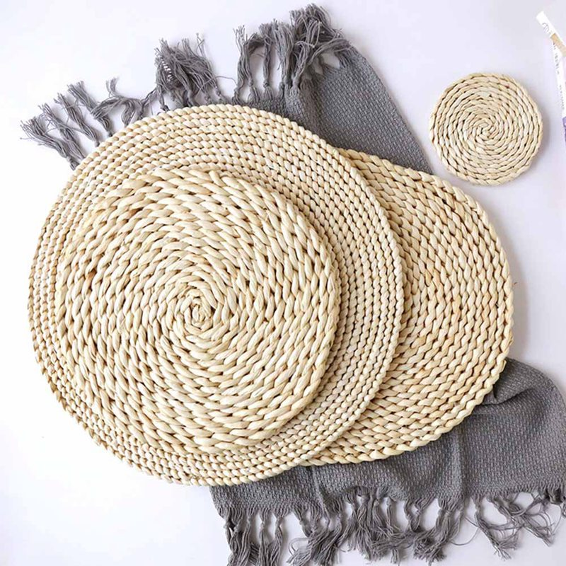 Rattan Placemats Straw Dining Table Mats Corn Peel Placemat Round Design Rattan Placemats Straw Dining Table Mats Stye Trend