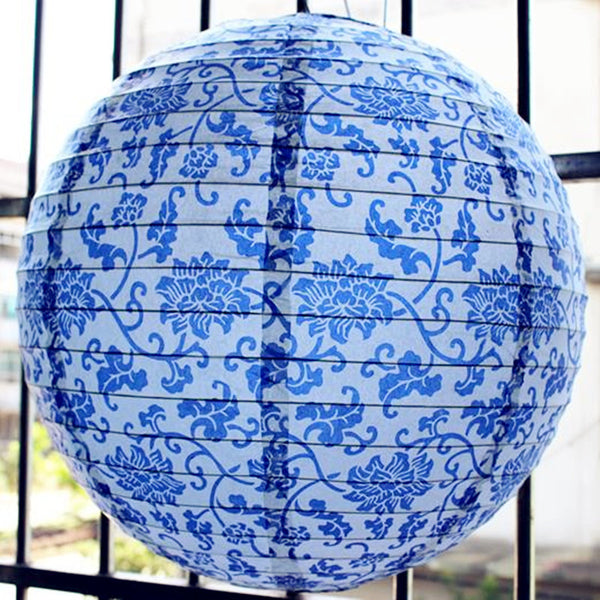 Japanese Fashion Blue Lantern Lamps Japan Bamboo Paper Lighting Style