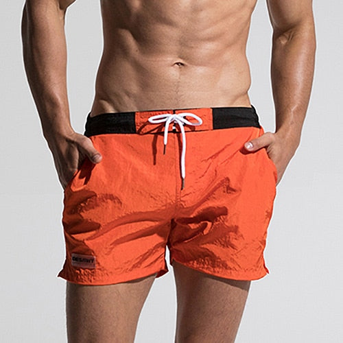 Trend Fast Dry Mens Orange Board Shorts Summer Beach Surfing Man Swimming Shorts Athletic Sport Running Hybrid Man Shorts