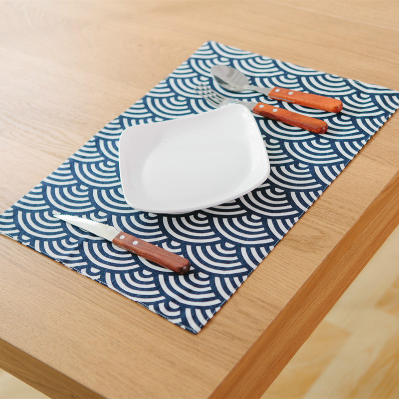 Japanese Blue Fish Scales Placemat Japan Dining Table Accessories Home Decor Design F