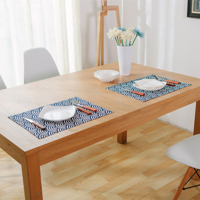 Japanese Blue Fish Scales Placemat Japan Dining Table Accessories Home Decor Design E