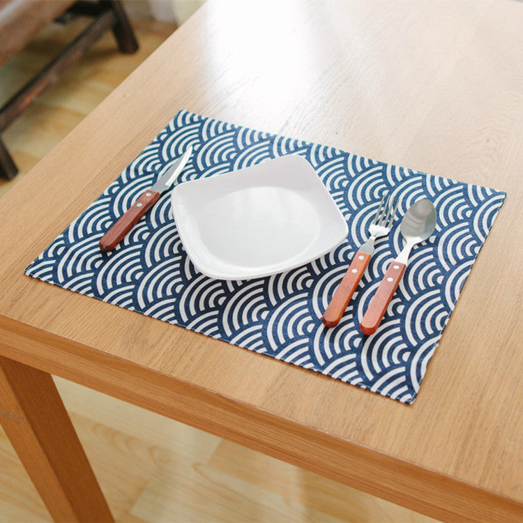 Japanese Blue Fish Scales Placemat Japan Dining Table Accessories Home Decor Design C