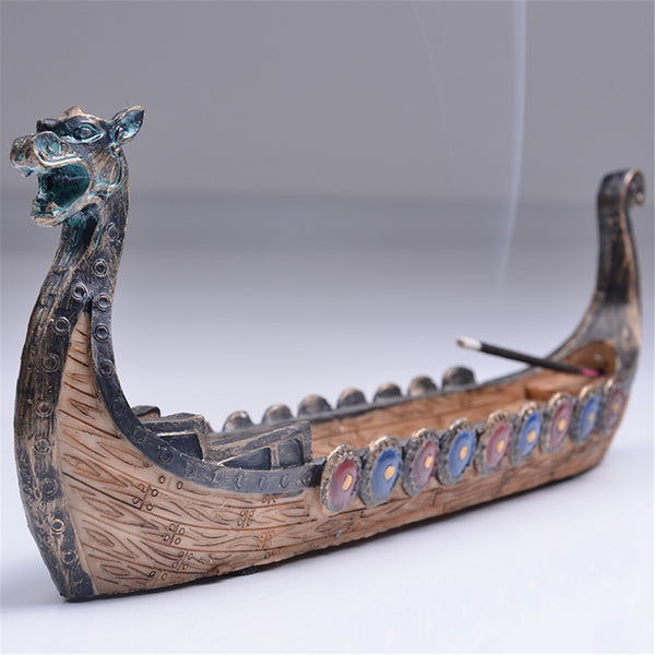 Retro Incense Burners Traditional Chinese Design Dragon Boat Incense Stick Holder Burner Hand Carved Carving Ornaments