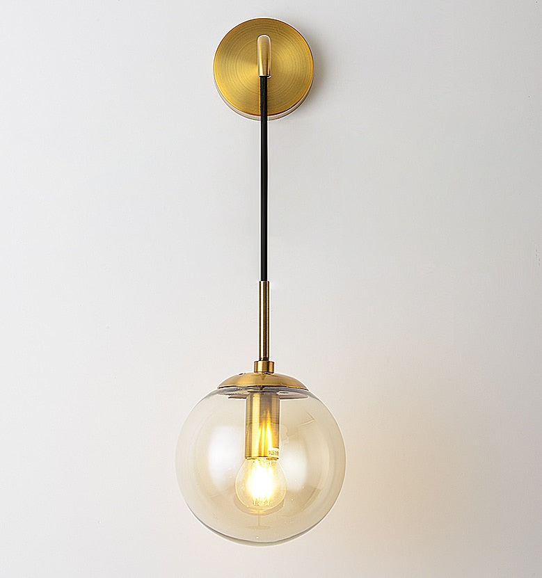 Gold Nordic Modern LED Wall Lamp Glass Ball Bathroom Mirror Beside American Retro Wall Light Sconce Bedside Aisle Decor Lights Gold Foyer Hallway Lamp Home Decor Lighting Furnishing Accessories