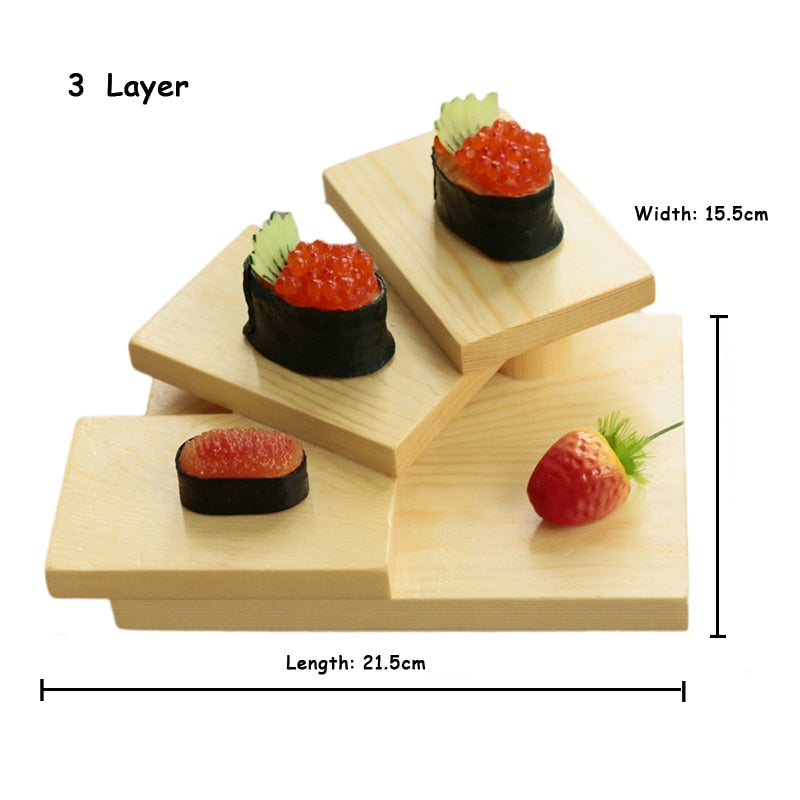 3 Layer Creative Japanese Sushi Shelf Serving Plate Tray Multilayer Wooden Dessert Frame Stand Cuisine Japan Sashimi Food Tray