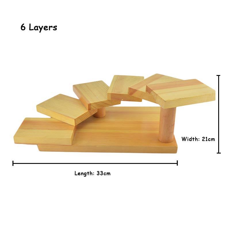 6 Layer Creative Japanese Sushi Shelf Serving Plate Tray Multilayer Wooden Dessert Frame Stand Cuisine Japan Sashimi Food Tray