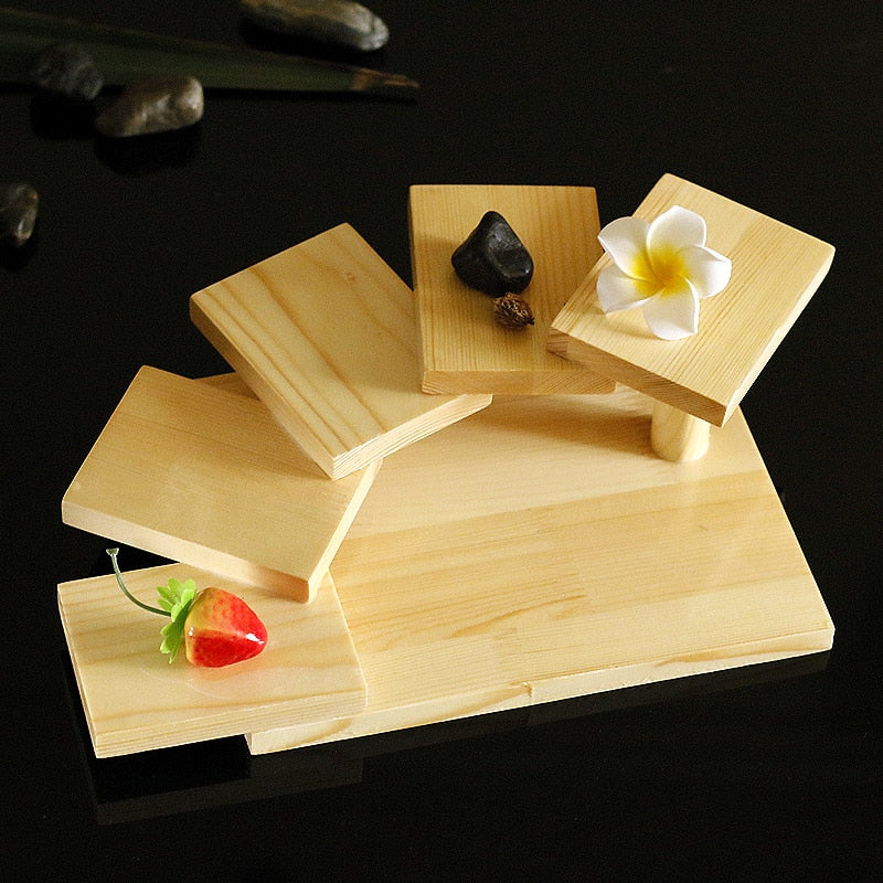 Trend 5 Layer Creative Japanese Sushi Shelf Serving Plate Tray Multilayer Wooden Dessert Frame Stand Cuisine Japan Sashimi Food Tray