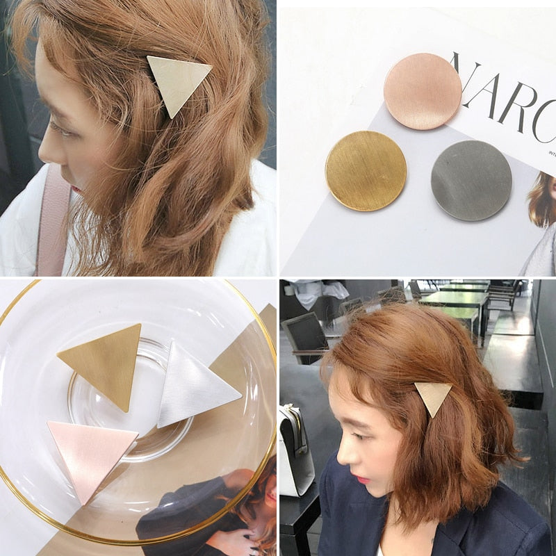 Minimalist Triangle Japanese Hair Accessories Metal Triangular-Cut Or Circle Hairpin Contracted Temperament Hair Clip Headwear Accessories
