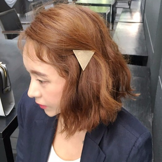 Trend Minimalist Triangle Japanese Hair Accessories Metal Triangular-Cut Or Circle Hairpin Contracted Temperament Hair Clip Headwear Accessories