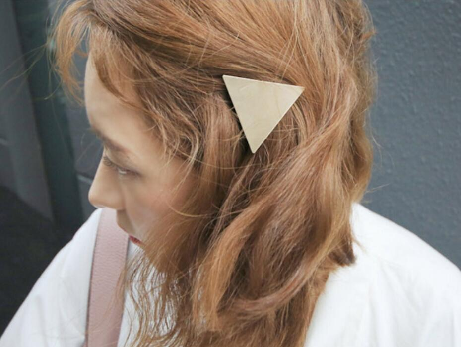 Trendy Minimalist Triangle Japanese Hair Accessories Metal Triangular-Cut Or Circle Hairpin Contracted Temperament Hair Clip Headwear Accessories
