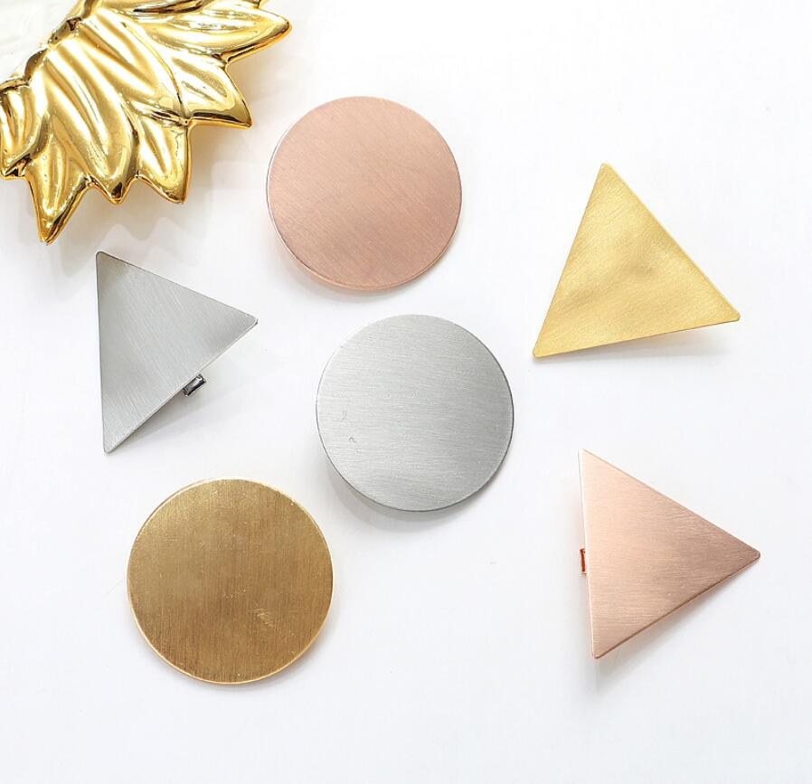 Preppy Minimalist Triangle Japanese Hair Accessories Metal Triangular-Cut Or Circle Hairpin Contracted Temperament Hair Clip Headwear Accessories