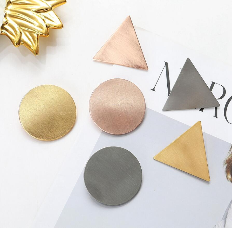 Trending Minimalist Triangle Japanese Hair Accessories Metal Triangular-Cut Or Circle Hairpin Contracted Temperament Hair Clip Headwear Accessories