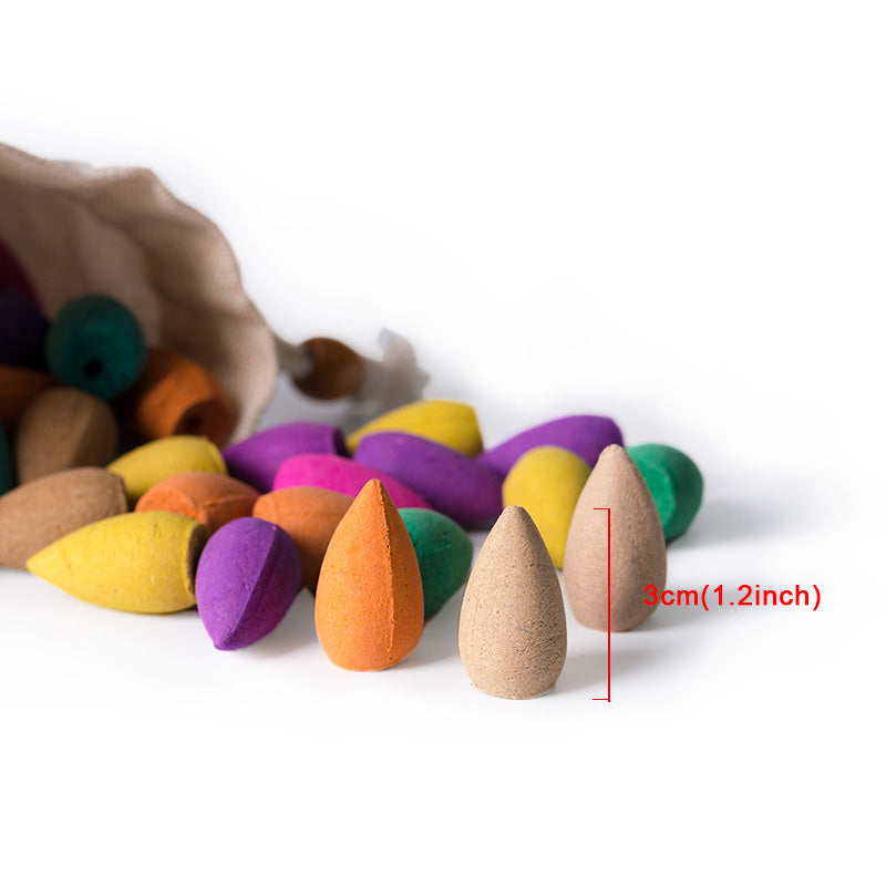 80 Pieces Per Bag Backflow Incense Cones Chinese Handmade Mixed Colored Incense Home Decor Aromatherapy Accessories Style Healthy Lifestyle
