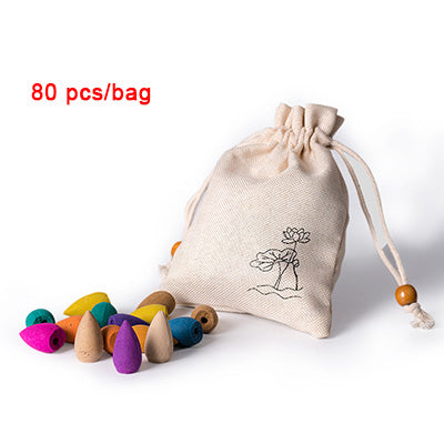 80 Pieces Per Bag Backflow Incense Cones Chinese Handmade Mixed Colored Incense Home Decor Aromatherapy Accessories Style Wellbeing Zen