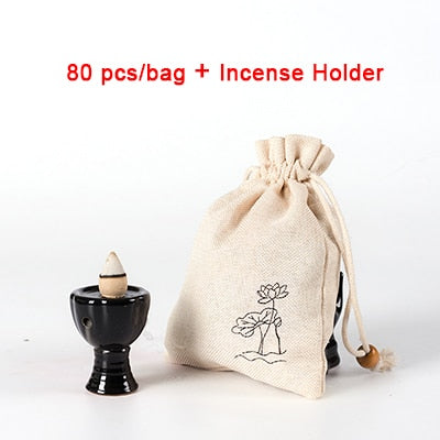 80 Pieces Per Bag Backflow Incense Cones Chinese Handmade Mixed Colored Incense Home Decor Aromatherapy Accessories Style Yoga Room