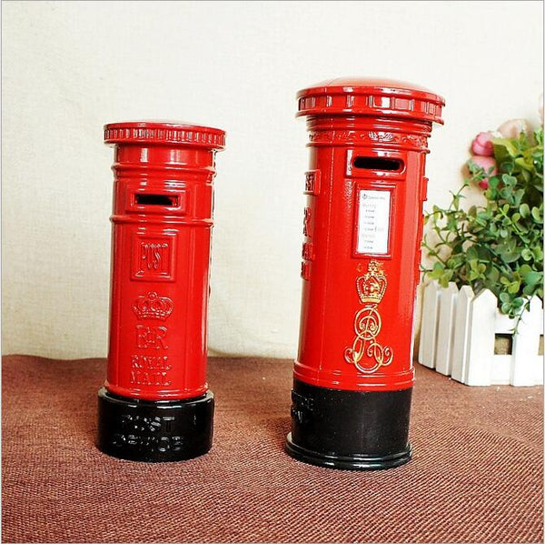 British Mailbox Coin Piggy Bank Money Savings Coin Piggy Bank Cash Box Child Kids Gift Home Decoration Accessories Style