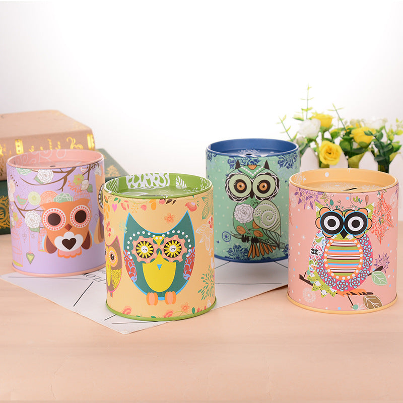 Owl Tin Coin Piggy Bank Money Savings Coin Piggy Bank Cash Box Child Kids Gift Home Decoration Accessories Style A