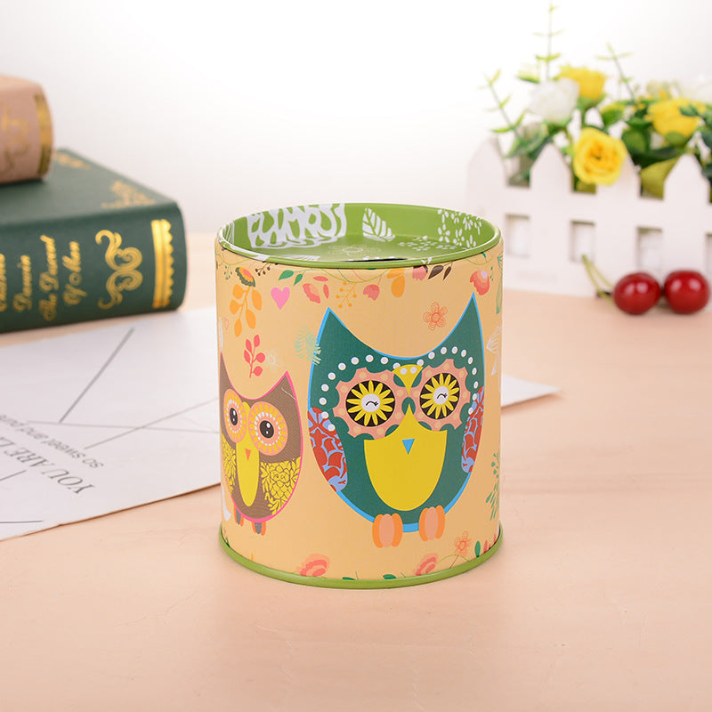 Green Owl Tin Coin Piggy Bank Money Savings Coin Piggy Bank Cash Box Child Kids Gift Home Decoration Accessories Style K