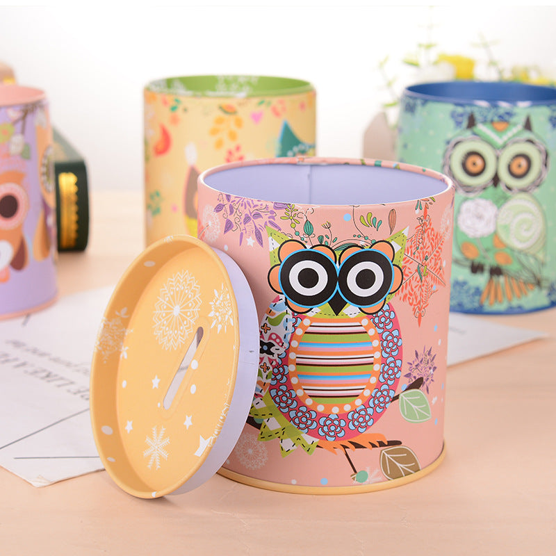Yellow Owl Tin Coin Piggy Bank Money Savings Coin Piggy Bank Cash Box Child Kids Gift Home Decoration Accessories Style G