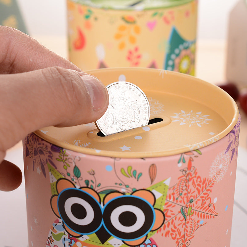 Yellow Owl Tin Coin Piggy Bank Money Savings Coin Piggy Bank Cash Box Child Kids Gift Home Decoration Accessories Style C