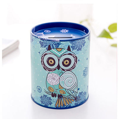 Blue Owl Tin Coin Piggy Bank Money Savings Coin Piggy Bank Cash Box Child Kids Gift Home Decoration Accessories Style P