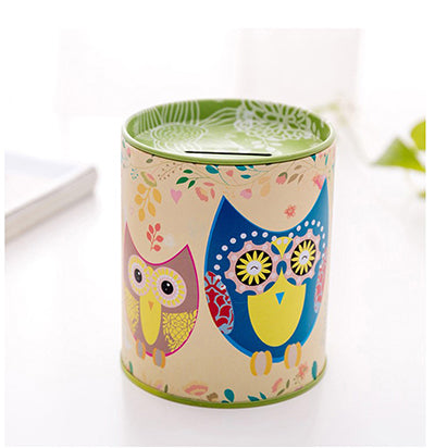 Green Owl Tin Coin Piggy Bank Money Savings Coin Piggy Bank Cash Box Child Kids Gift Home Decoration Accessories Style H