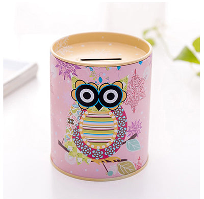 Yellow Owl Tin Coin Piggy Bank Money Savings Coin Piggy Bank Cash Box Child Kids Gift Home Decoration Accessories Style J