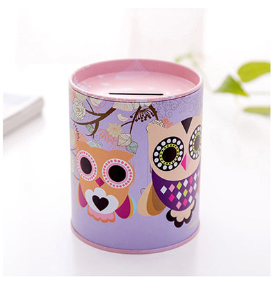 Pink Owl Tin Coin Piggy Bank Money Savings Coin Piggy Bank Cash Box Child Kids Gift Home Decoration Accessories Style M